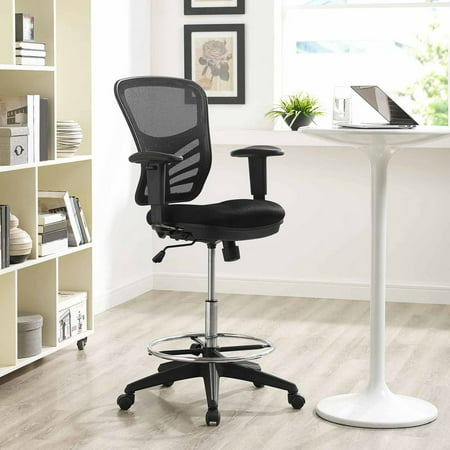 Fabric Armrests (Modway Articulate Drafting Chair with Arm Rests in Black)