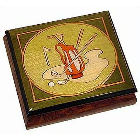 Reuge Swiss Music Box - Olive Green Golf Reuge Musical Ring/Earring Box - Aloha Oe, H.M.O - SWISS