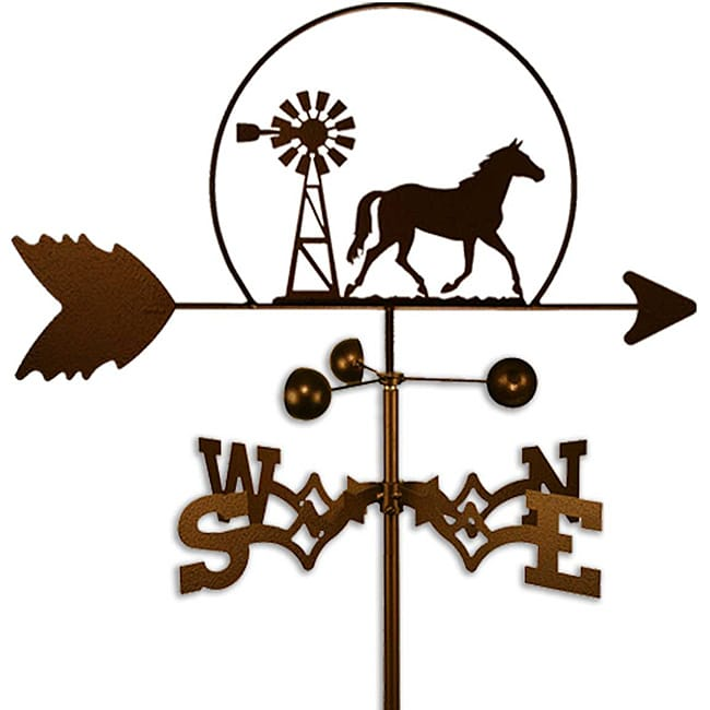SWEN Products Inc Handmade Equestrian Quarter Horse and Windmill Weathervane by Overstock