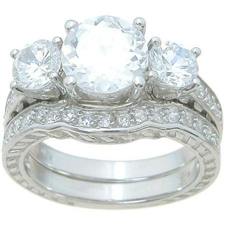 3.5 Carat T.G.W. Round-Cut CZ Sterling Silver High-Polish Antique Style Three-Stone Bridal Set