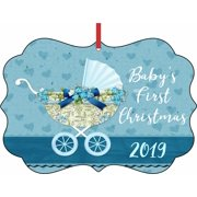 Baby's First Christmas Ornament 2019 Baby Boy Elegant Aluminum SemiGloss Christmas Ornament Tree Decoration - Unique Modern Novelty Tree Décor Favors
