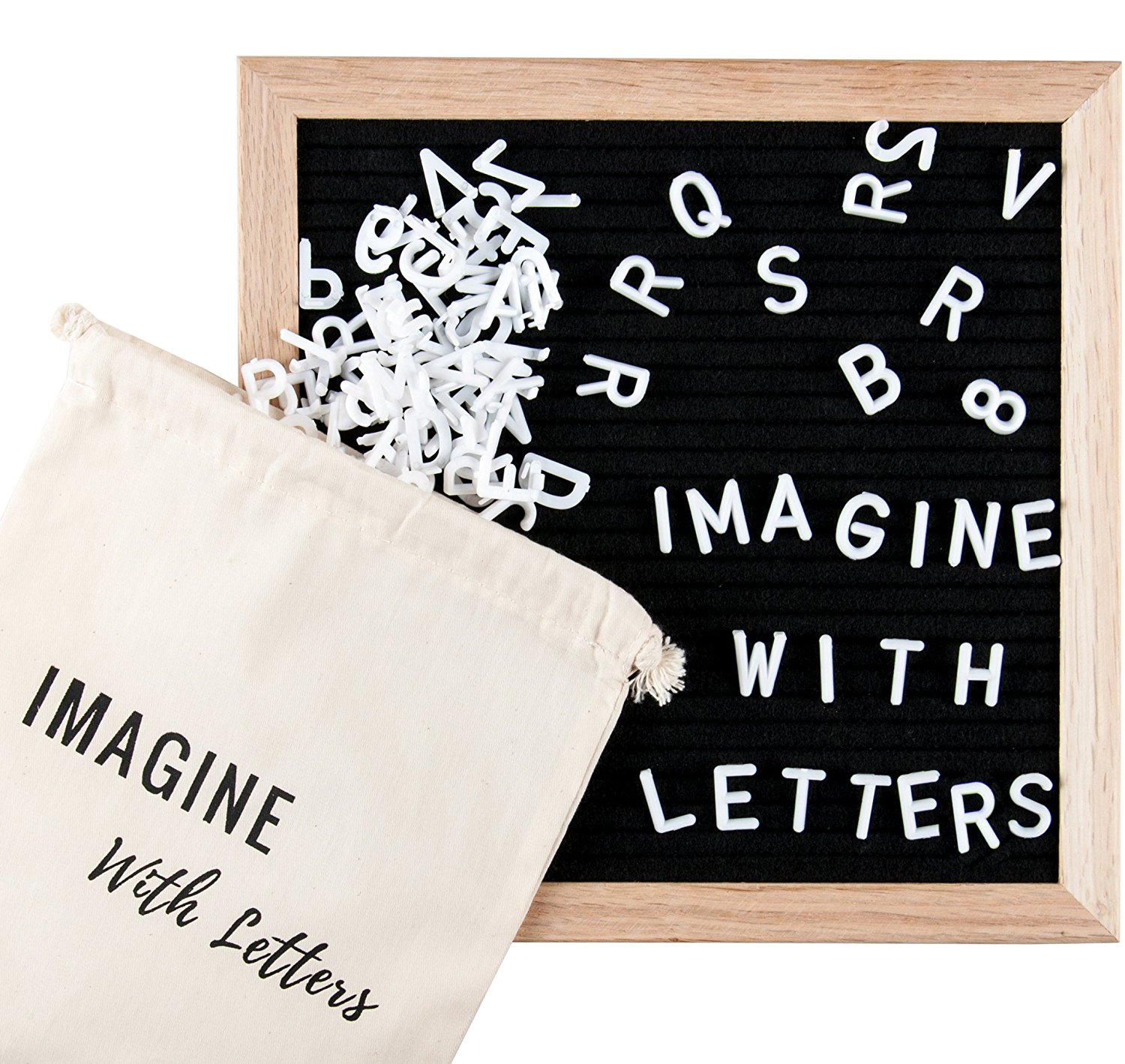 Black Felt Letter Board: 10x10 Inches. Wooden Letter Board over 600 Characters: Changeable White Letters,... by