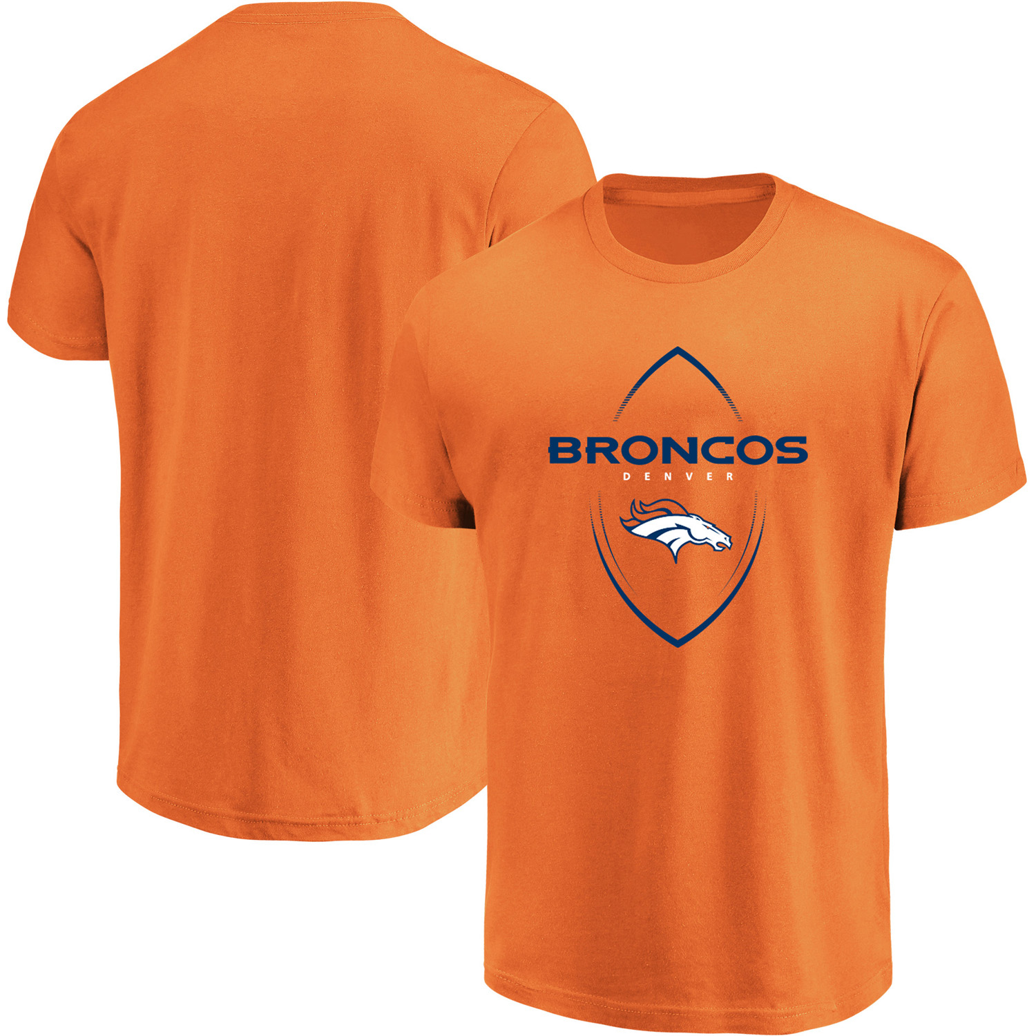 Denver Broncos Majestic Maximized Crew Neck T-Shirt - Orange