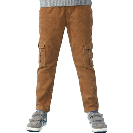 Iron Corduroy Pants - Leo&Lily Boys Husky Waist Whole Waist Rib Corduroy Cargo Trousers Pants (Khaki, 7)
