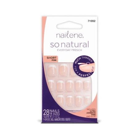 Nailene So Natural Nails with Tabs and Glue Short Pink Fuzzy