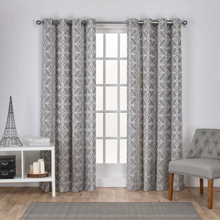 Exclusive Home Cressy Geometric Textured Linen Jacquard Window Curtain Panel Pair with Grommet Top