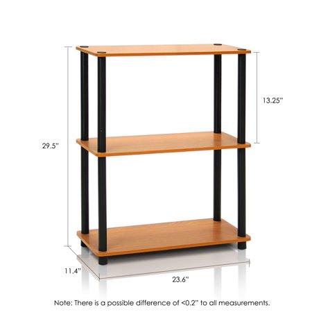 Furinno Turn-N-Tube 3-Tier Compact Multipurpose Shelf Display Rack, 10024LC/BK