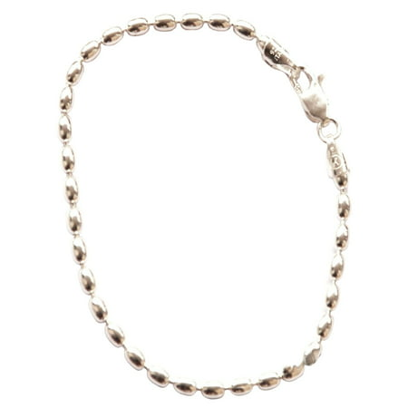 Sterling Silver Charleston Rice Bead Sy Bracelet 2 X 3mm Beads 230ga With Lobster Clasp