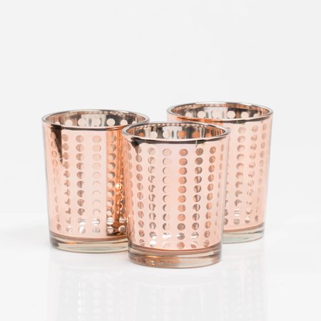 Richland Rose Gold Dotted Glass Holders-Small Set of 12 Dot Polka Dot Candle Holder
