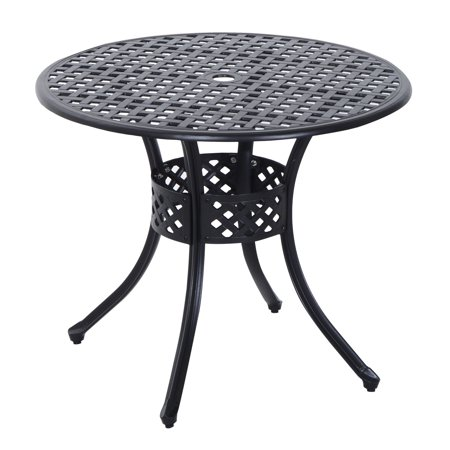 Round Cast Aluminum Outdoor Dining Table - Black ()
