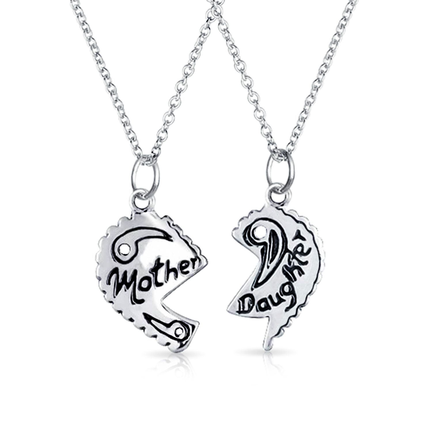 Bling Jewelry 925 Silver Mother Daughter Split Heart Pendant Set 16in