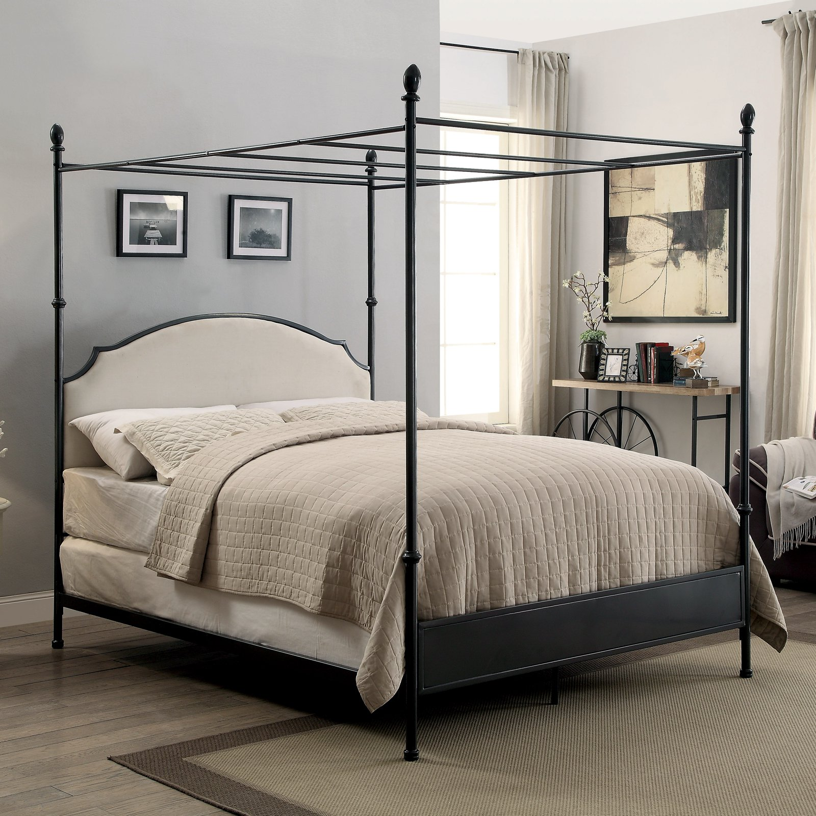 Furniture of America Francine Transitional Arched Fabric and Metal Canopy Bed