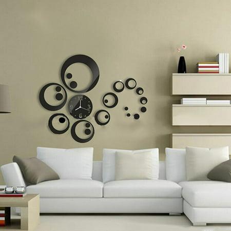 Wall Decals Circles - Circles 3D Modern Mirror Wall Clock Watches Sticker Decal Home DIY Decor Black