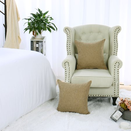 Decorative Square Linen Cushion Cover Case for Couch 18 x 18 Inch Beige Set of 2 - image 6 de 7