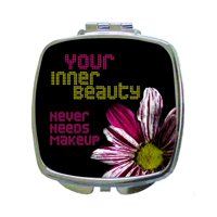 Your Inner Beauty Never Needs Makeup - Nice Quote - Flower Print Design - Makeup Expression - Compact Beauty Mirror - Square Shaped