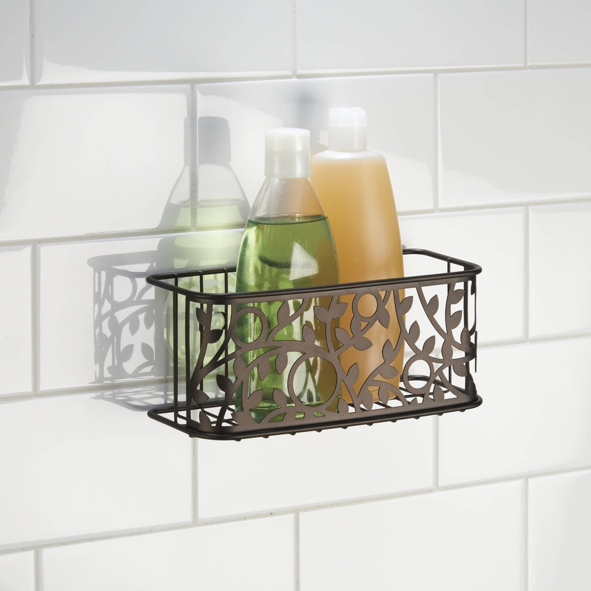 InterDesign Vine Suction Bathroom Shower Caddy Basket, Bronze