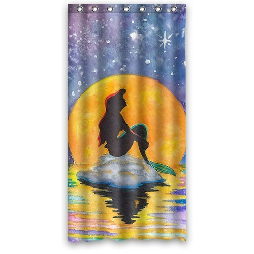 DEYOU The Little Mermaid Galaxy Shower Curtain Polyester Fabric Bathroom Shower Curtain Size 36x72 inch