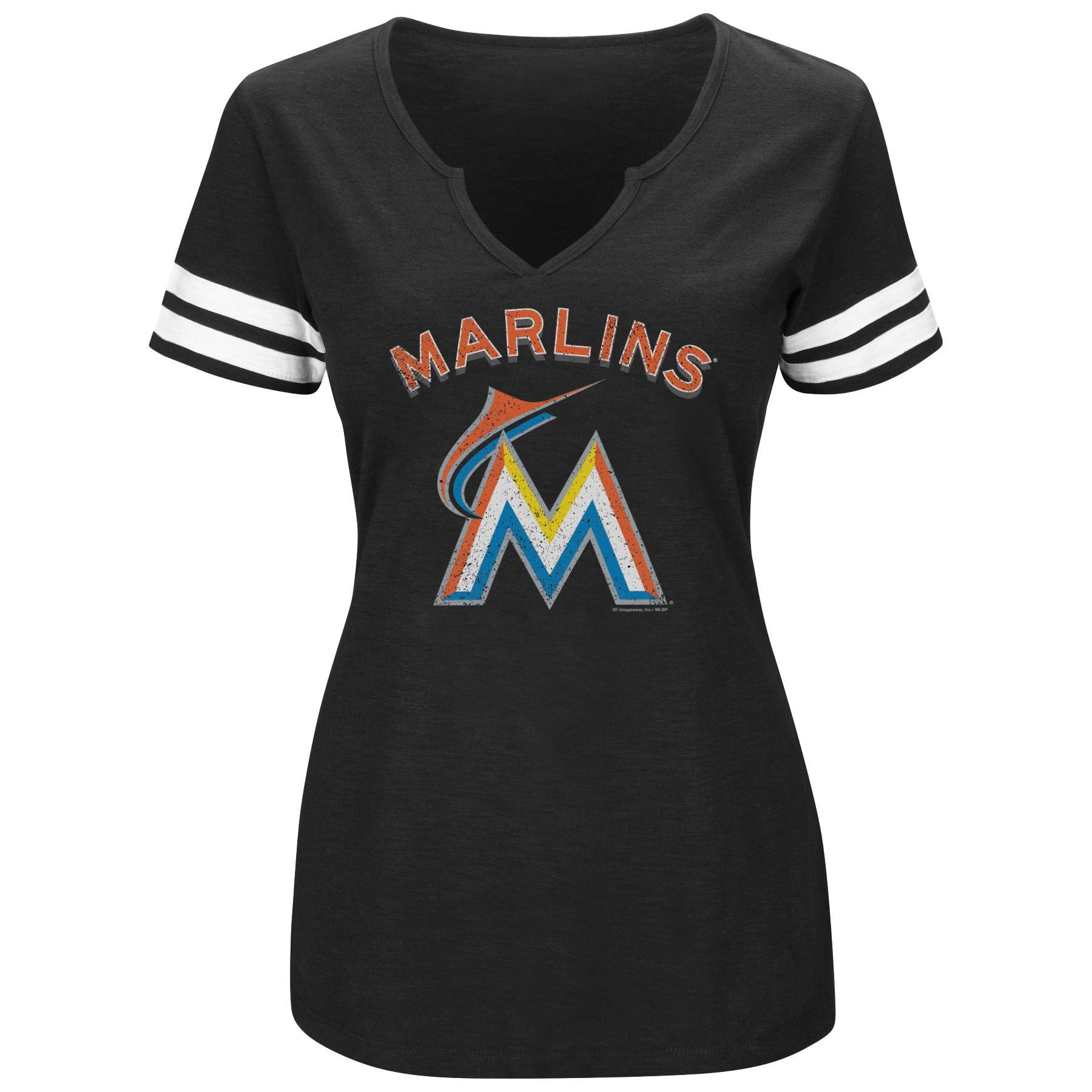 Women's Majestic Black/White Miami Marlins Decisive Moment V-Notch T-Shirt