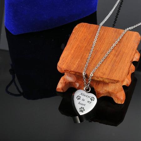Dot Jewelry - Dog Paw Always in My Heart Cremation Jewelry Keepsake Pet Memorial Urn Necklace