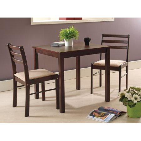 "Liz 3 Piece Kitchen Dinette Dining Set, Espresso Wood, Transitional 30"" Square, (Table & Two Ladderback Chairs)"