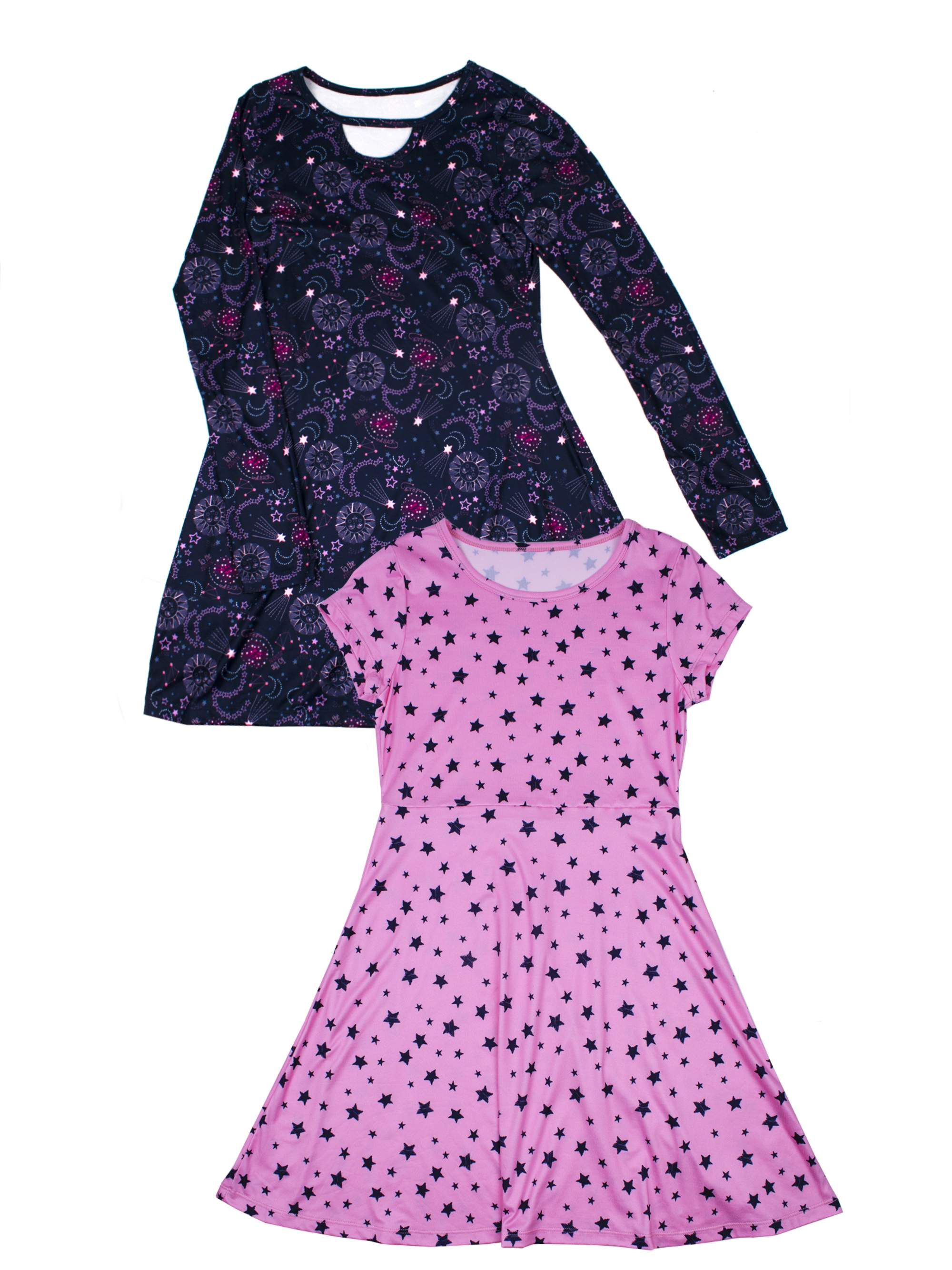 Bell Sleeve And Short Sleeve Unicorn Dresses, 2-Pack (Little Girls & Big Girls)