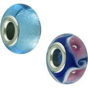 Hallmark Steel Murano Blue Glass Bead Set