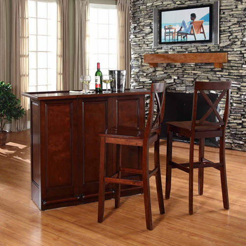 "Crosley Furniture Mobile Folding Bar with 30"" X-Back Stool"