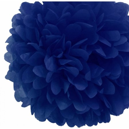 Quasimoon EZ-FLUFF 12'' Navy Blue Tissue Paper Pom Poms Flowers Balls, Decorations (4 Pack) by PaperLanternStore - Tissue Paper Flowers Easy