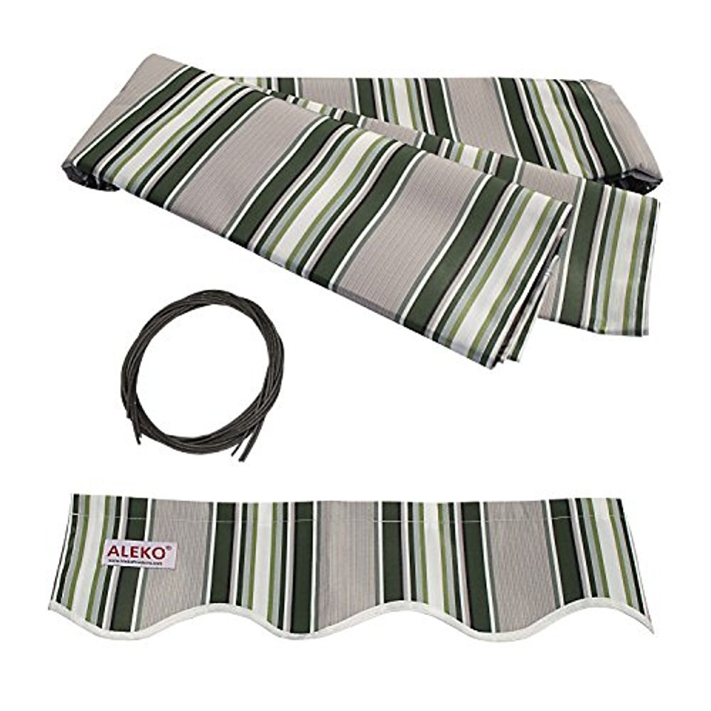 ALEKO 12'x10' Retractable Awning Fabric Replacement, Multi Striped Green Color