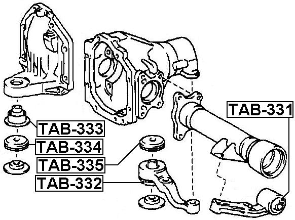 Febest Tab 333 Differential Mount Lexus Lx470 Uzj100 1998 2007 Oem