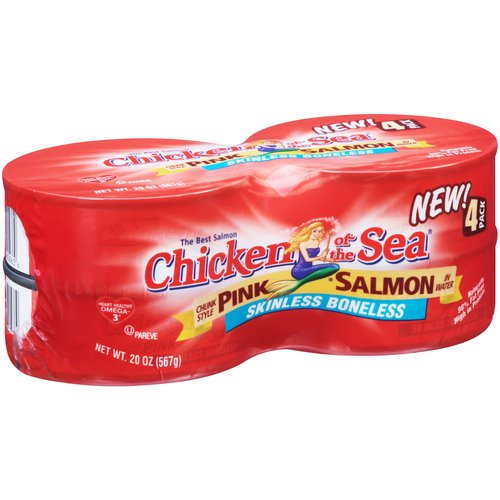 Chicken of the Sea Skinless Boneless Chunk Style Pink Salmon in Water, 5 oz, 4 count