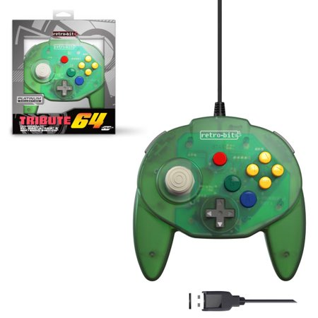 Retro-Bit Tribute N64 USB Controller for PC, Nintendo Switch, Mac, Steam,  RetroPie, Raspberry Pi - USB Port - (Forest Green)