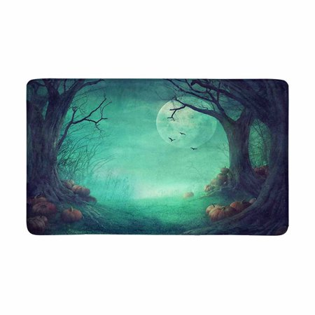 MKHERT Halloween Gothic Medieval Decor, Spooky Forest with Dead Trees and Pumpkins Doormat Rug Home Decor Floor Mat Bath Mat 30x18 inch - Bat Decor For Halloween