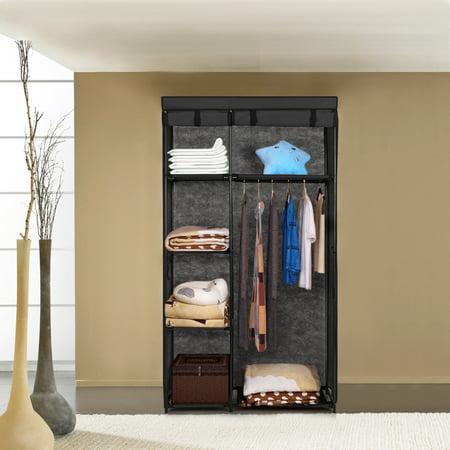iKayaa Fashion Portable Fabric Closet Wardrobe Cabinet Roll Up Clothing Storage Organizer Clothes Hanger Rack with 5 Storage Shelves 1 Hanging - Diy Dress Up Closet