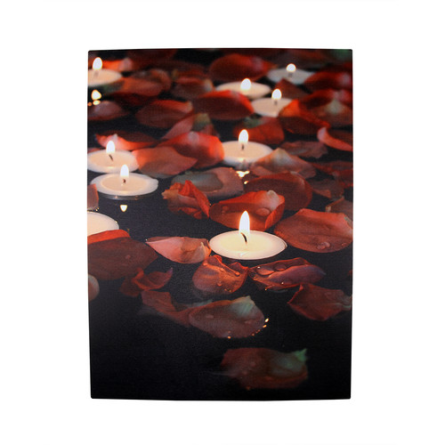 Northlight Seasonal 5 LED Lighted Garden Party Candles with Rose Petals Photographic Art Canvas