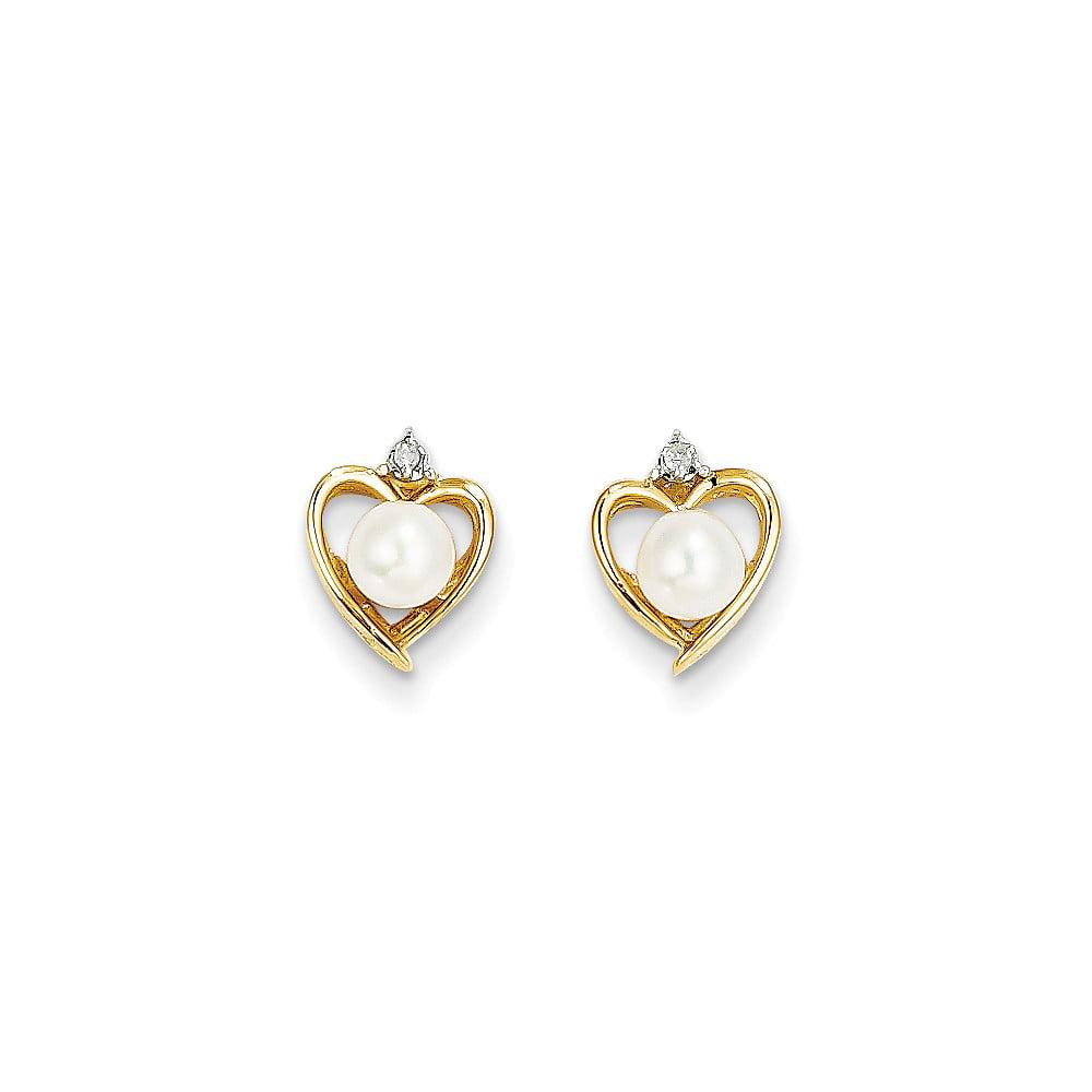 14k Yellow Gold 5x3 Oval Diamond & Pearl Earrings (0.6IN x 0.3IN )
