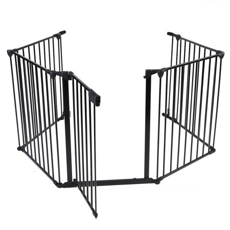Fire Safety Tips Kids (WALFRONT Metal Safety Gate Fireplace Stove Fence Protection Doors for Baby Toddlers Kids Pets , Pet Safety Gate,Baby Safety Gate )