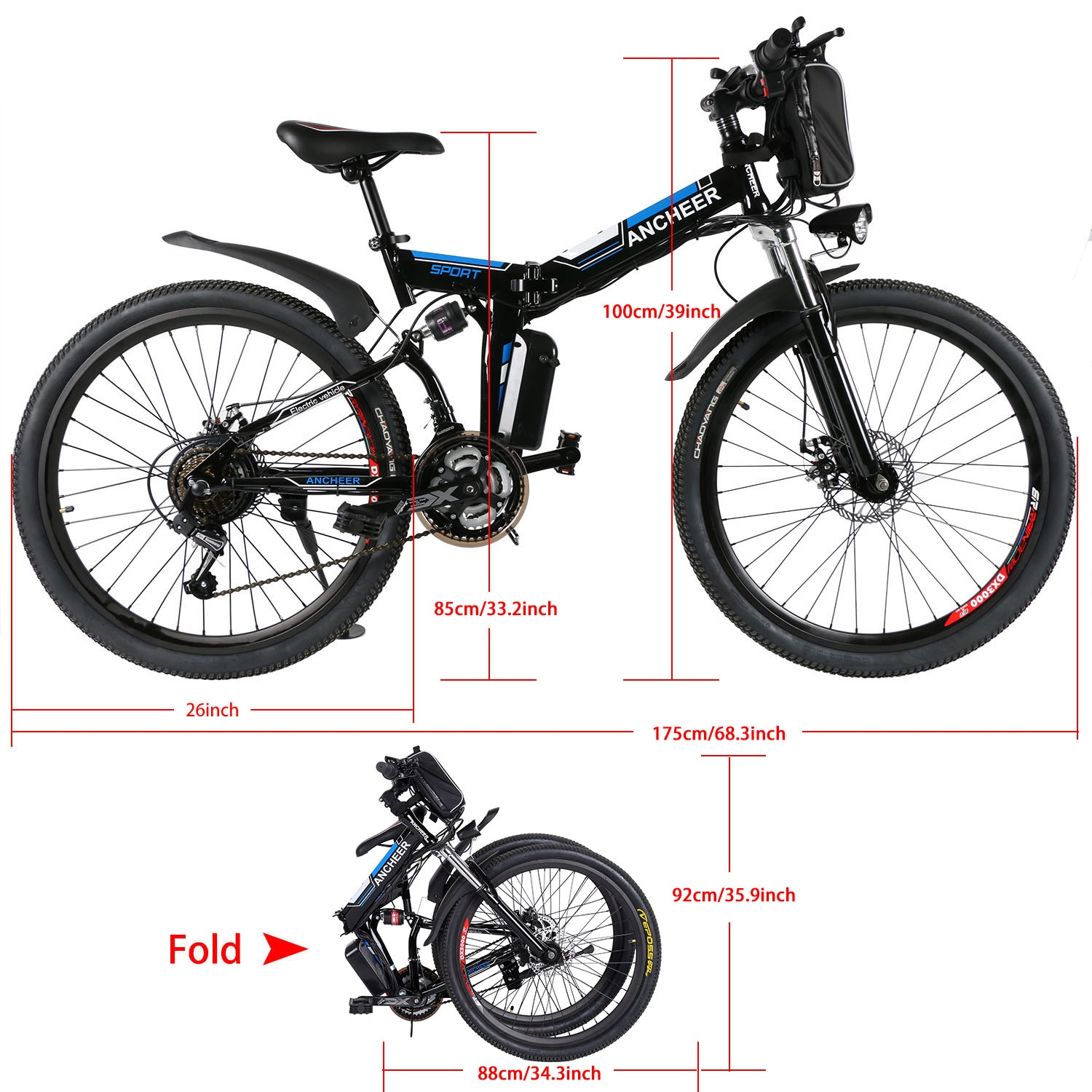 "36V 26"" Foldable Electric Power Mountain Bike Bicycle Lithium-Ion Battery Aluminum Alloy Frame Shimano 7th gear transmission  BYE"