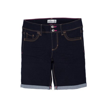 Girls Belted Denim Bermuda - Jordache Rolled Cuff Denim Bermuda Short (Little Girls & Big Girls)