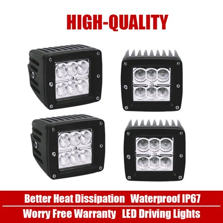 QUAKEWORLD 4X 4inch 18W LED Cube Pods Work Light Flush Mount Offroad Flood Beam Fog Light Truck For 4WD Tractor ATV Snow Plow SUV Peterbilt Tacoma Chevy