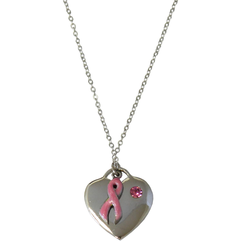 Gloria Duchin Breast Cancer Awareness Silver-Tone Heart Necklace