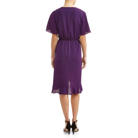 Women's Midi Front Ruffled Dress