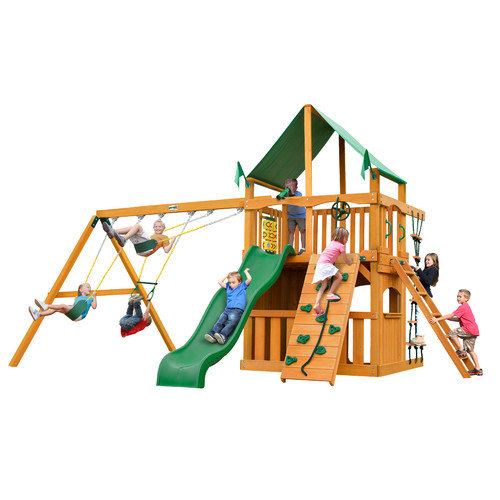 Gorilla Playsets Chateau Clubhouse with Amber Posts and Canopy Cedar Swing Set