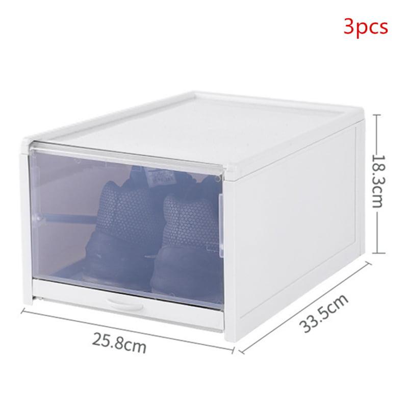 3pcs Portable Plastic Transparent Push Drawer Type Shoe Box Shoe Drawer