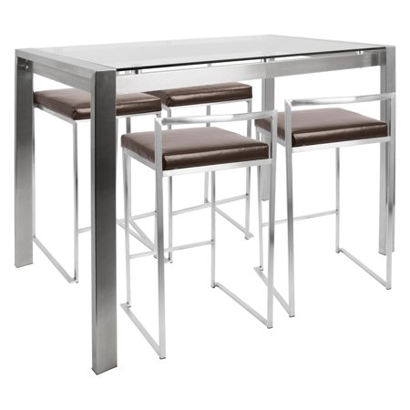 Fuji 5-Piece Contemporary Counter Height Dining Set in Stainless Steel and Brown by LumiSource