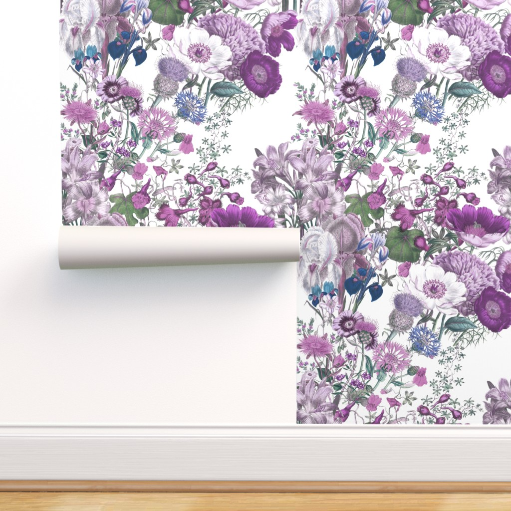 Peel And Stick Removable Wallpaper Lilac Wildflowers Purple