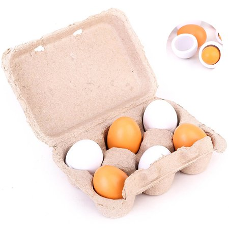 6PCS Realistic Egg Toys Pretend Kitchen Toys Wooden Food Toy Educational Learning Toy Easter Egg with Storage Box Creative Birthday Gift Toys for Kids Child Baby Girls Boys](Kid Stores Online)