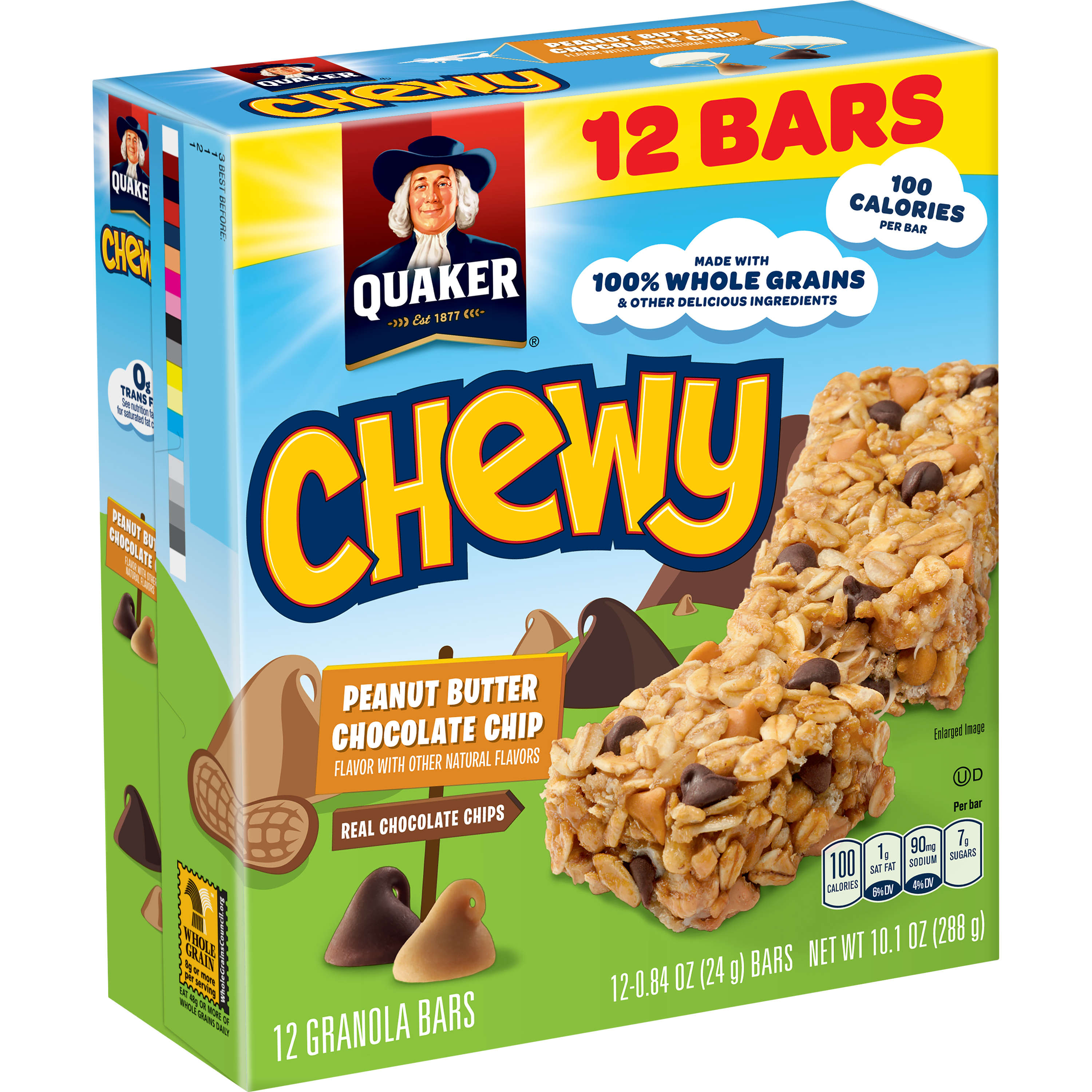 (3 Pack) Quaker Chewy Granola Bars, Peanut Butter Chocolate Chip, 12 Count