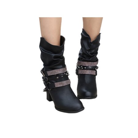 Womens High Block Heel Booties Retro Buckle Slouch Boots Rivets Punk Shoes