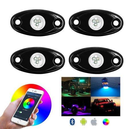 Jeobest Led Rock Lights 4x Pods Mini Bluetooth Rgb Led